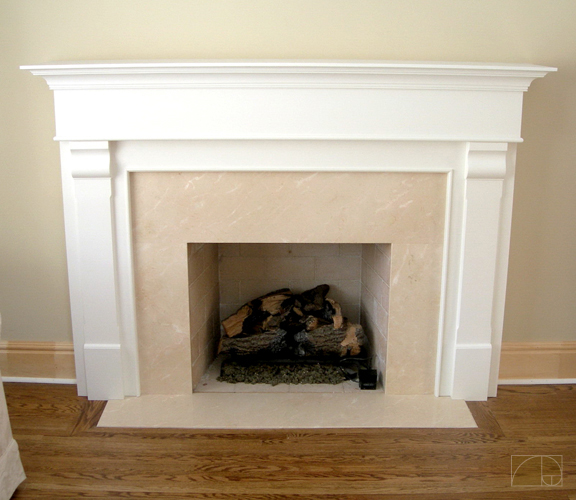 there are plenty of material options for doing a fireplace surround granite ceramic tile and slate to name a few this off white mantle frames a tasteful
